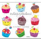 Wenskaart  met cupcakes- hartelijk gefeliciteerd en een lekkere verjaardag