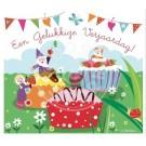 Wenskaart kabouters en cupcakes - een gelukkige verjaardag