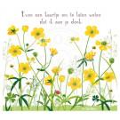 Wenskaart geel bloemenveld