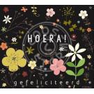 Wenskaart bloemetjes - Hoera! gefeliciteerd