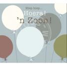 Wenskaart grijsblauw met ballonnen - Hiep hiep hoera! 'n zoon