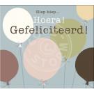 Wenskaart ballonnen - hiep hiep hoera! Gefeliciteerd