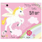 Wenskaart unicorn - happy birthday little star