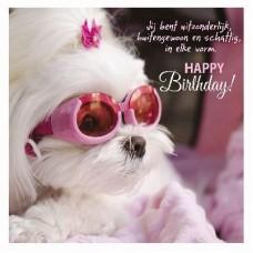 3D wenskaart - Verjaardag - Hond met zonnebril