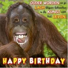 3D wenskaart - Verjaardag -  aap