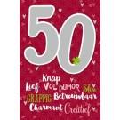 Muziek wenskaart - 50 jaar - dames