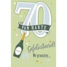 Muziek wenskaart - 70 jaar - champagne