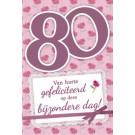 Muziek wenskaart - 80 jaar - dames