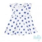 Grijs melange kleedje met blauwe bollen  - maat 62 (Geboortelijst Florien M.)