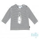 Zwart- wit gestreept babyshirtje met melkfles - back white milk - maat 62 (Geboortelijst Lea F.)