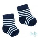 Donkerblauwe babysokjes met streepjes