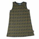 Muwloos kleedje jaquard mosterdgeel met petrol print- Alice corner - maat 62-68 (Geboortelijst Marie V.)