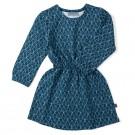 Petrolblauw kleed met zigzagprint - dress angel zig zag - maat 50-56 (Geboortelijst Ellis B.)