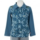 Petrolblauwe hemdje met vlakken - Eppo cubes shirt