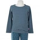 Petrolblauwe zachte t-shirt met strepen- ice blue stripes Theo