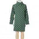Superzacht groen kleed met print - Mountains dress pillar tencel