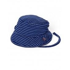 Zonnehoedje blauw wit gestreept met knooplintjes