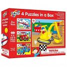 Voertuigen- 4 puzzels in een box