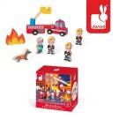 8- delig doosjes met houten figuurtjes : de brandweer (Geboortelijst Fran S.)