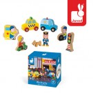 8- delig doosjes met houten figuurtjes : de garage (2+1 gratis)