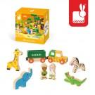 8- delig doosjes met houten safari figuurtjes  (2+1 gratis)