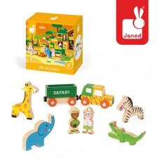 8- delig doosjes met houten safari figuurtjes