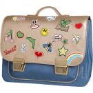 Boekentas met gouddruk en patches midi - It bag goldfun