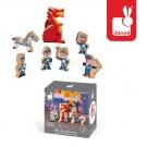 7-delig doosjes met houten figuurtjes : de ridders en de draak (2+1 gratis)