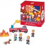 8- delig doosjes met houten figuurtjes : de brandweer (2+1 gratis)