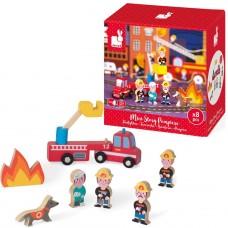 8- delig doosjes met houten figuurtjes : de brandweer