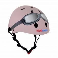 Pastelroze helm met bril small