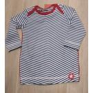 Blauw wit gestreept kleedje met rode accenten - dress medium blue stripes  - maat 68 (Geboortelijst Marie V.)