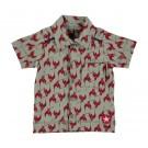 Grijsgroen hemd met rode vogels- shirt bird print