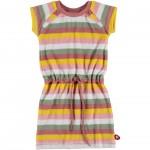 Zacht sponsen kleedje met strepen - dress green yellow