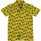Geel hemd met groene vogels- shirt bird print