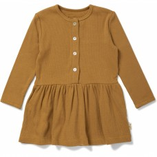 Mosterdgeel geribbeld kleedje - Siff dress dijon