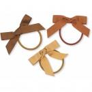 Set van 3 haarrekkers met strikje - 3-pack hair elastics bow moonbeam