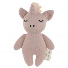 Oudroos knuffelrammelaartje unicorn - Mini unicorn rose fawn