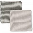 Set van 2 gestreepte tetradoeken groen / grijs - muslin striped (Geboortelijst Felix D.M.)