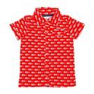 Rood hemdje met vissen - Jeff shirt aop fish - maat 62 (Geboortelijst Axel B.)