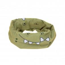 Multifunctionele sjaal kaki - Flexi-loop kids crocodile olive