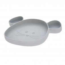 Lichtgrijs silicone vakjesbord muis - Section plate silicone little chums mouse grey