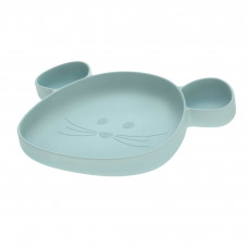 Lichtblauw silicone vakjesbord muis - Section plate silicone little chums mouse blue
