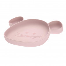 Lichtroze silicone vakjesbord muis - Section plate silicone little chums mouse rose