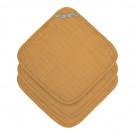 Set van 3 kleine mosterdgele tetradoekjes - Muslin washcloth mustard