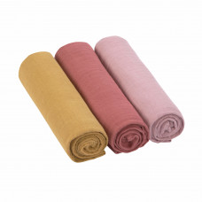 Set van 3 L tetradoeken rose - Swaddle & burp blanket L rose / rosewood / mustard