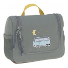 Grijsgroene toilettas met camper - Mini washbag adventure bus
