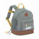 Grijsgroene rugzak met camper - Mini backpack adventure bus