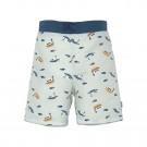 Muntgroene zwemshort met bootjes en visjes - Board shorts boys boat mint