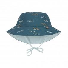 Omkeerbaar UV zonnehoedje met slangen - Sun protection bucket hat sea snake blue